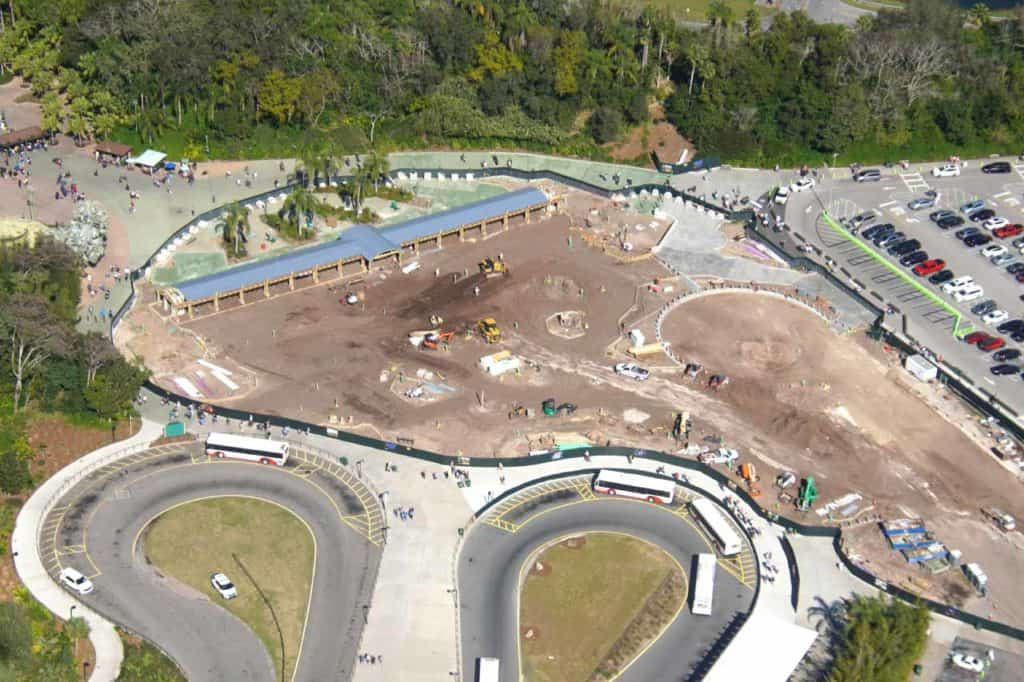 Disney's Animal Kingdom entrance overhaul under construction.