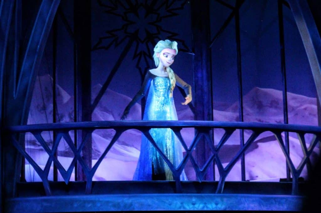 Elsa in Frozen Ever After at Epcot.