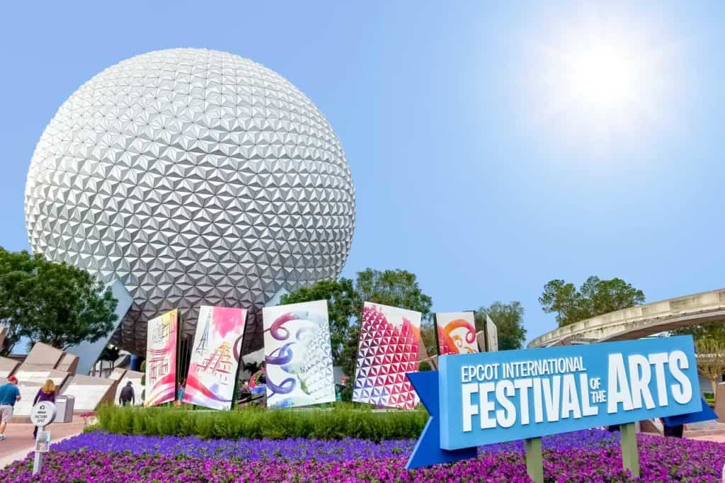 Entrance to Epcot during International Festival of the Arts.