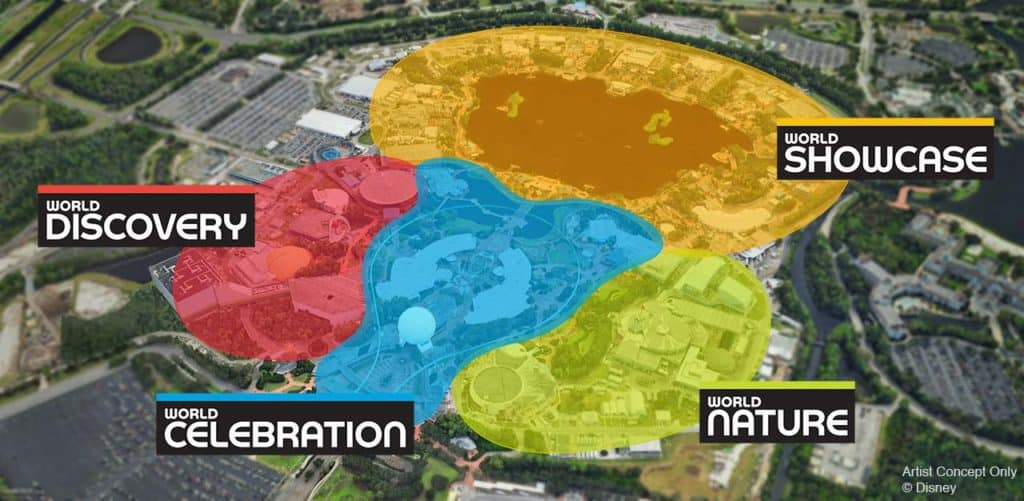 An overview of the new neighborhoods coming via the Epcot overhaul.