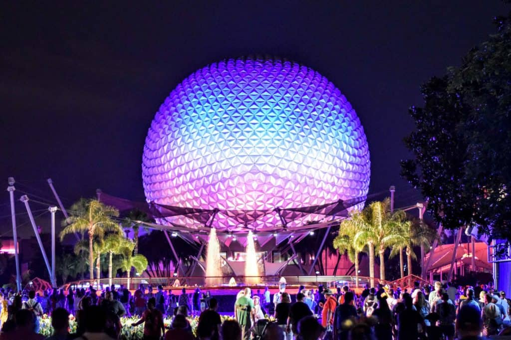 Epcot Spaceship Earth and Future World fountains at night