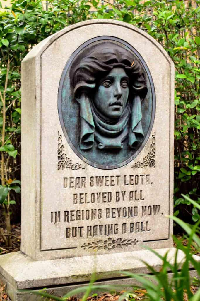 Madame Leota's Blinking Tombstone at The Haunted Mansion.