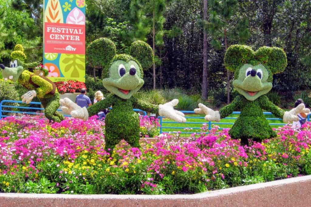 Mickey Minnie and Goofy topiaries on display at Epcot International Flower & Garden Festival.