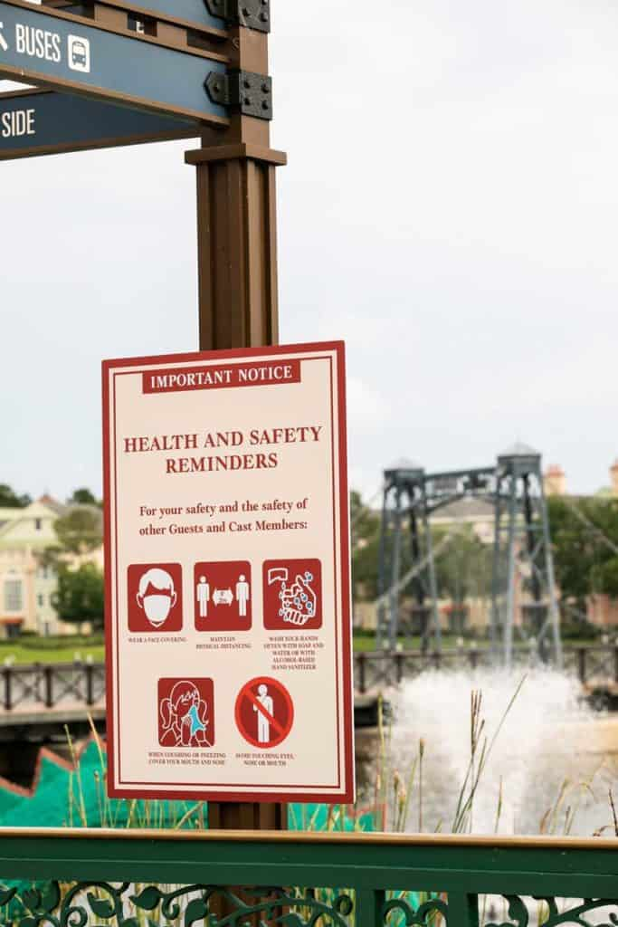 New Health and Safety Reminder Posters at Disney Springs.