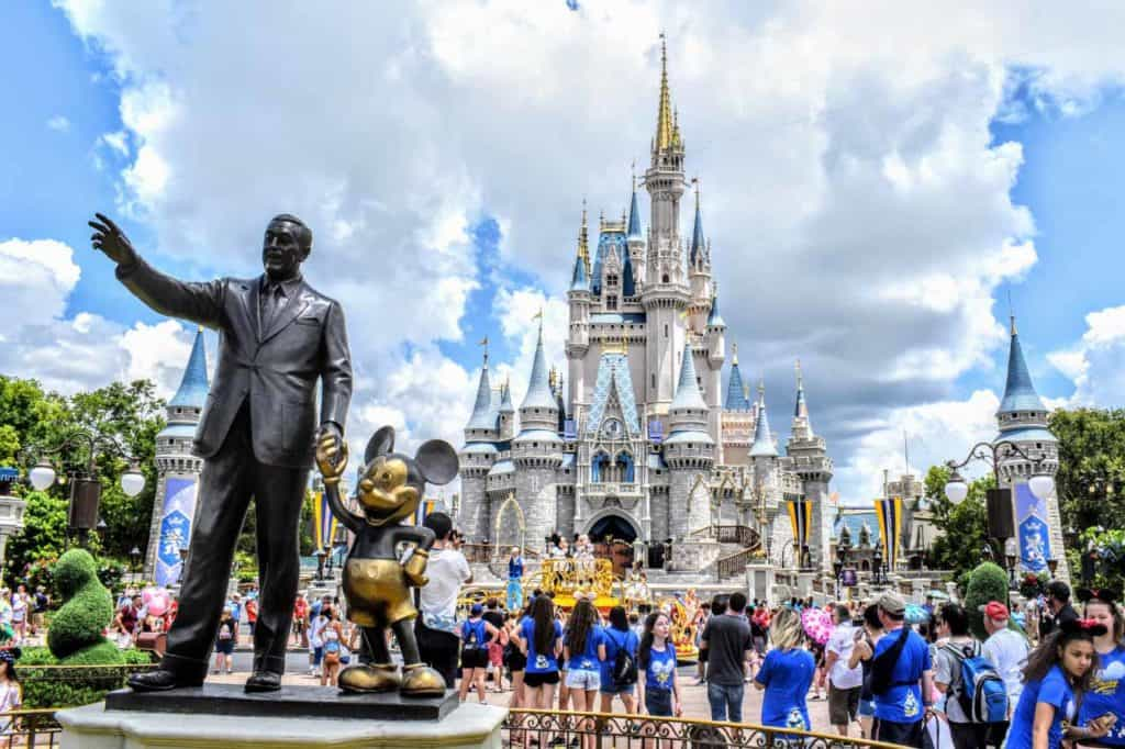 Partners Statue and Cinderella Castle at Magic Kingdom.