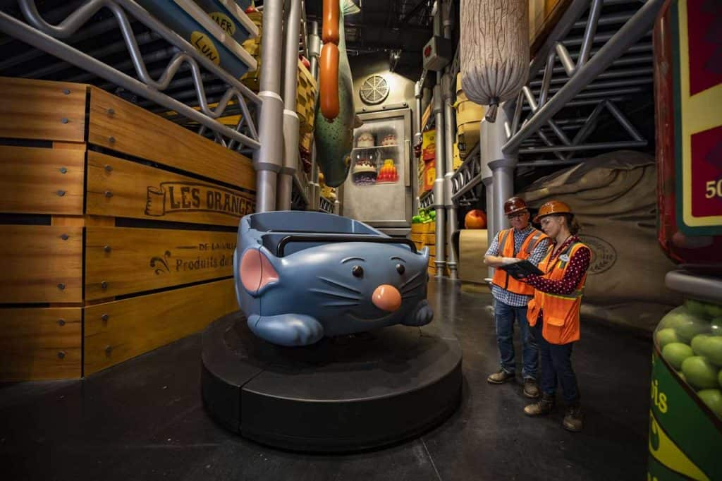 Remy's Ratatouille Adventure under construction with Imagineers. Credit Disney