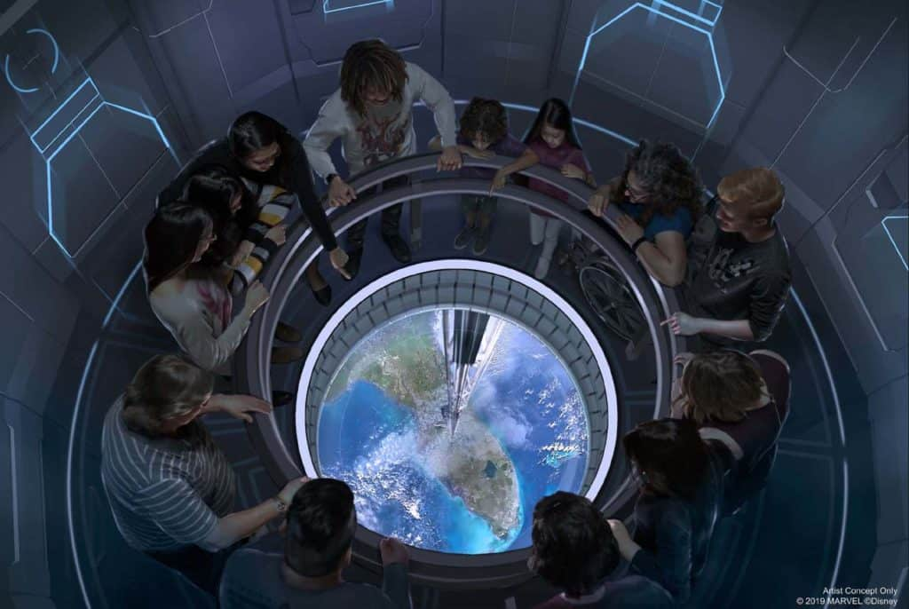Guests will travel to space in a space elevator 220 miles above Earth to dine at the new Space 220 restaurant.
