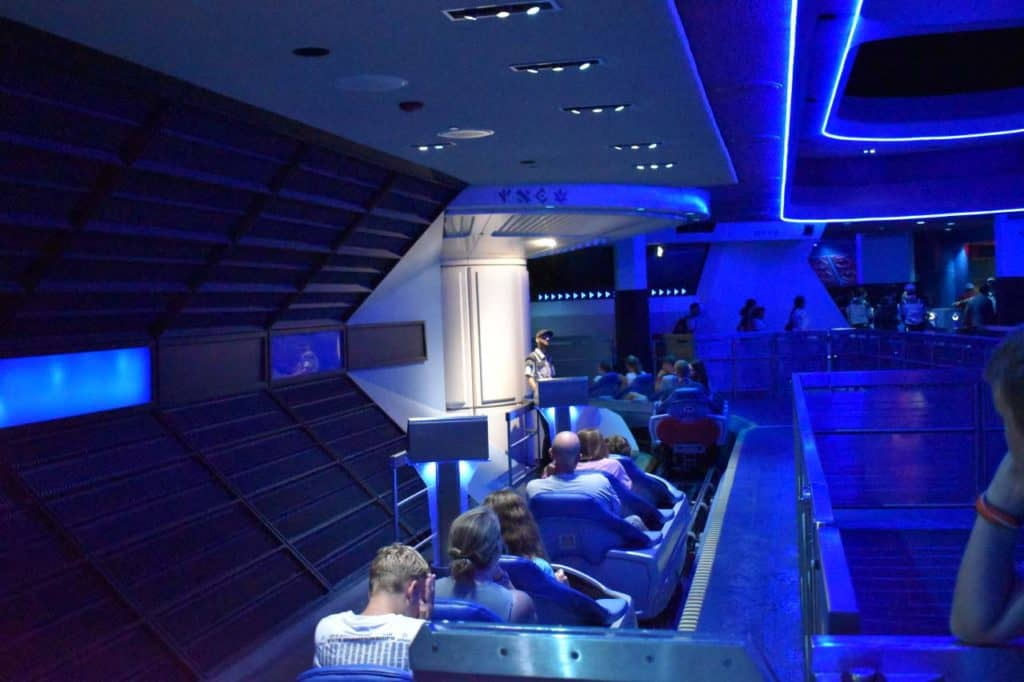 Space Mountain ride vehicles.