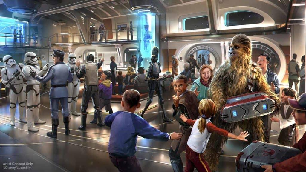 Star Wars: Galactic Starcruiser Atrium. Credit Disney