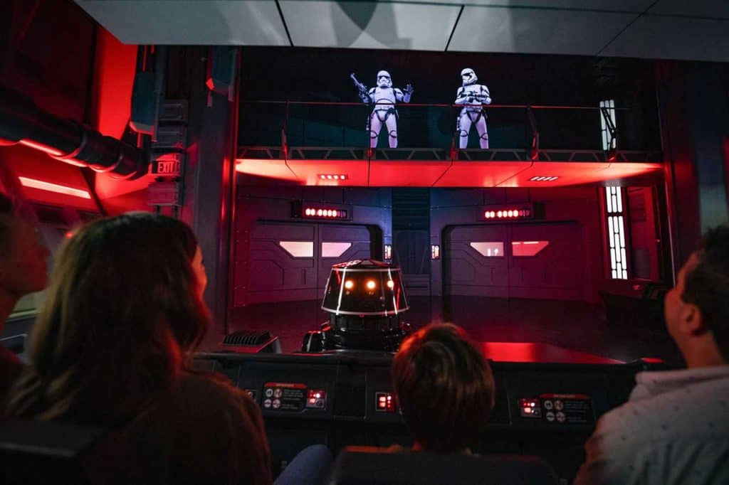 Stormtroopers Attack in Star Wars: Rise of the Resistance. Credit Disney