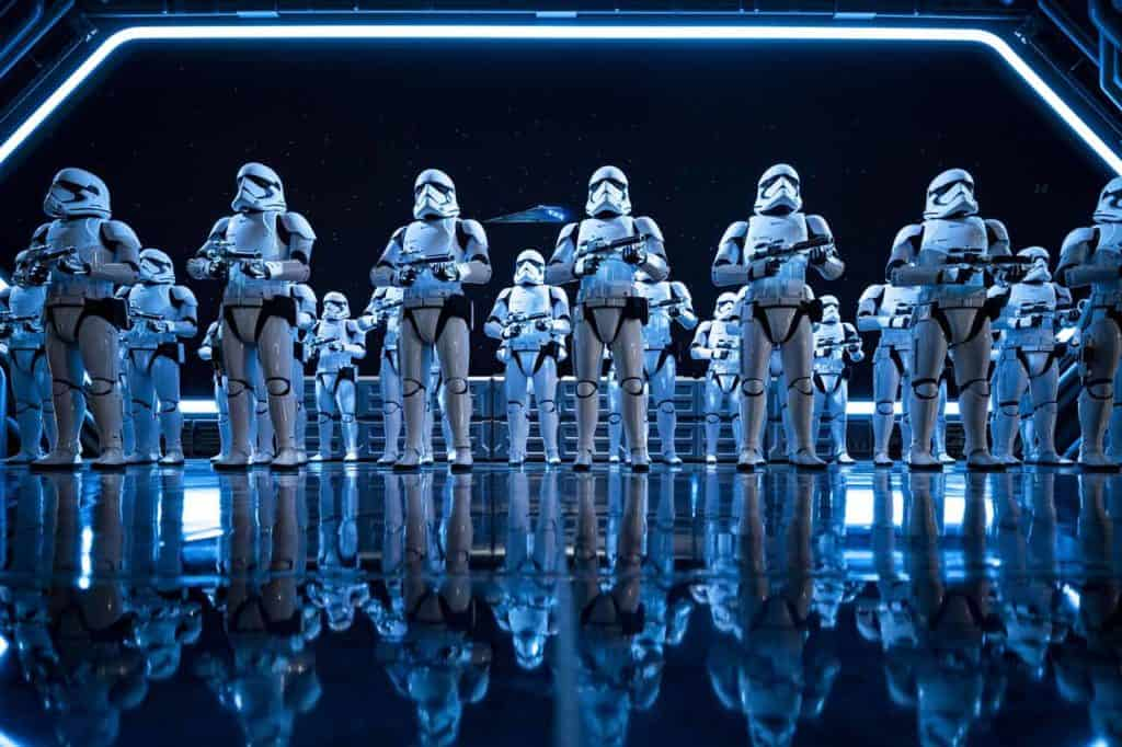 Stormtroopers in Star Wars: Rise of the Resistance. Credit Disney