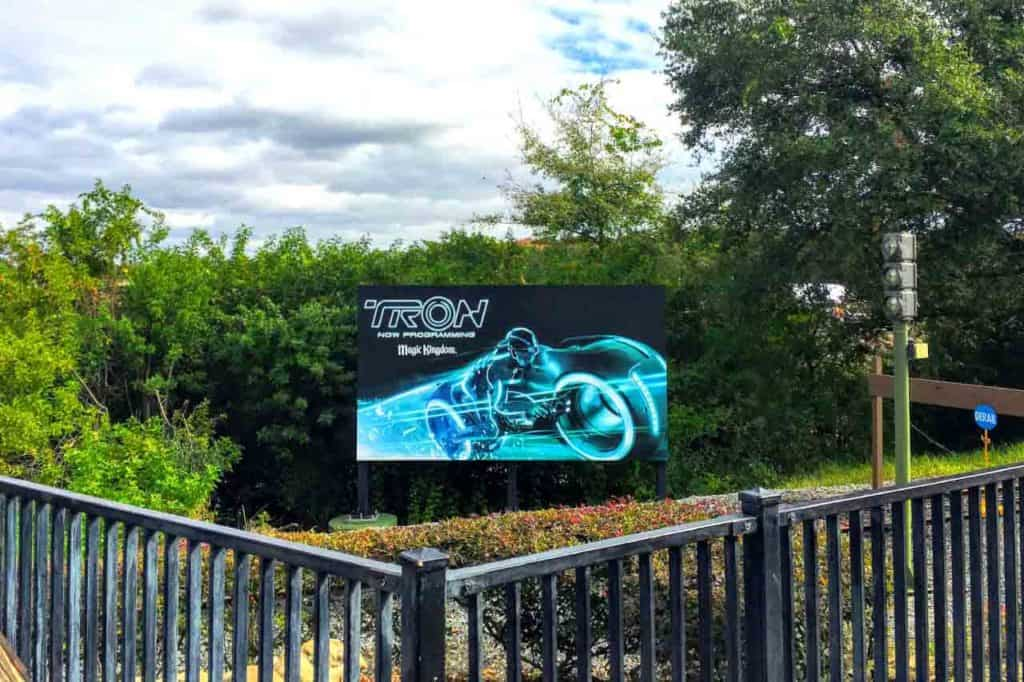 TRON Lightcycle Run Now Programming sign at Magic Kingdom on December 10, 2018