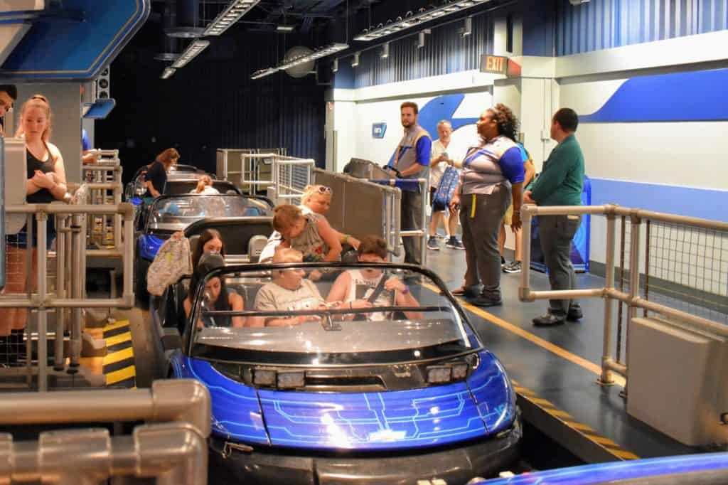 Test Track ride vehicle loading area at Epcot