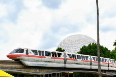 Coral Monorail in front of Spaceship Earth