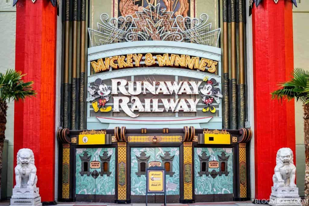 Mickey and Minnie's Runaway Railway sign at Disney's Hollywood Studios.