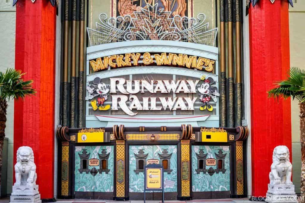 Mickey and Minnie's Runaway Railway sign at Disney's Hollywood Studios.